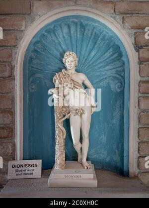 Dionysus statue god of harvest and wine in Greek - Stock Photo