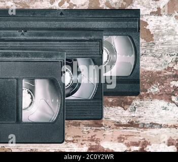 three videocassette close up - Stock Photo