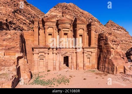 Petra, Jordan. El Deir (The Monastery) in Petra, the capital of the ancient Nabatean Kingdom. - Stock Photo