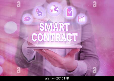 Handwriting text writing Smart Contract. Conceptual photo digital agreement to control the transfer of digital currencies - Stock Photo