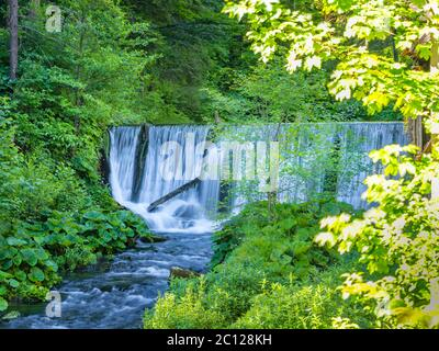 Lake with waterfall and derelict old sawmill and watermill Cogrljevo jezero Croatia Europe - Stock Photo