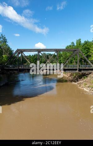 Railroad bridge, Tittabawassee R. Sanford, MI USA. 6-11-2020, Dam breach & flooding occurred 5-20-2020, by James D Coppinger/Dembinsky Photo Assoc - Stock Photo