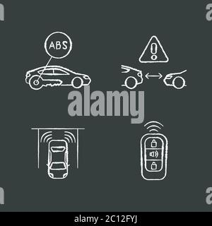 Smart driving safety systems chalk white icons set on black background - Stock Photo