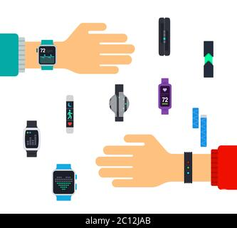 Fitness trackers on hands. Vector flat illustrations. Sports lifestyle. - Stock Photo