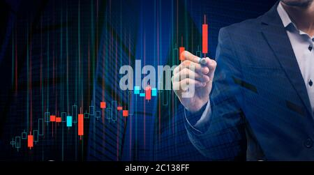Businessman Drawing Graph Analysing Business Growth On Blue Background, Panorama