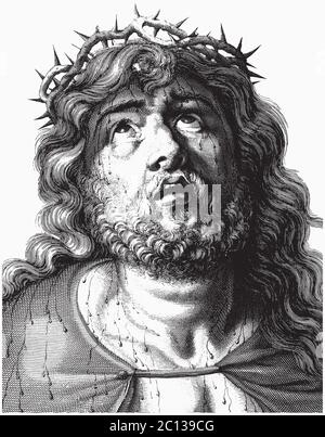 Engraving of Jesus Christ with crown of thorns, vector illustration - Stock Photo