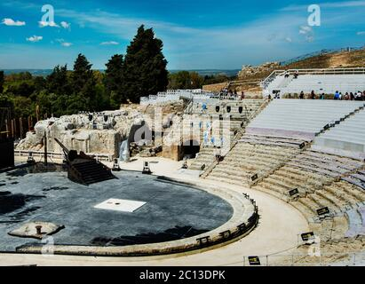 View to Auditorium of the Ancient Greek Theatre (Teatro Greco) in Syracuse, Sicily, Italy - Stock Photo