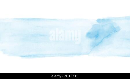 Abstract light blue watercolor hand-painted for background. Stain artistic vector used as being an element in the decorative design of background,  he - Stock Photo