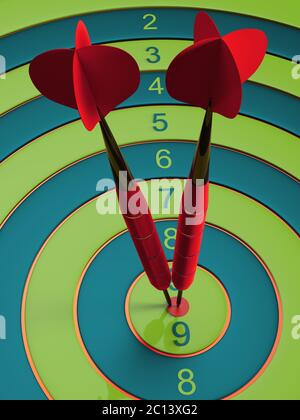 Two darts hitting the bullseye aim. concept of success 3d illustration - Stock Photo