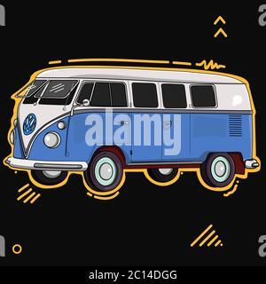 Blue volkswagen car vector illustration - Stock Photo