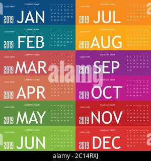calendar for year 2019 in colorful illustration - Stock Photo