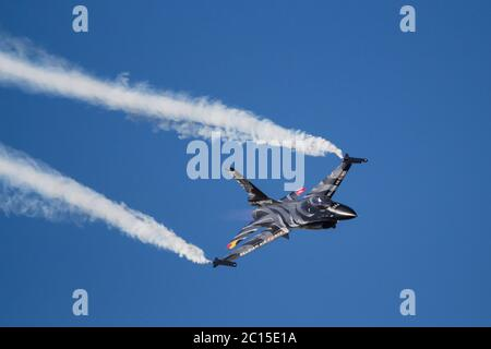 General Dynamics F-16AM  from the Belgian Air Force seen during its display for the 2018 RIAT held at RAF Fairford, Gloustershire. UK. Taken 15th July - Stock Photo