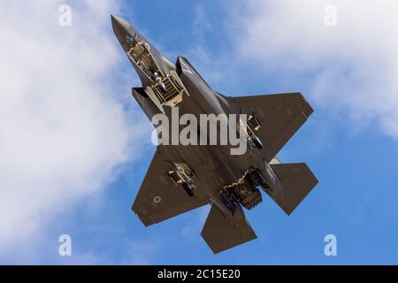 Lockheed Martin F-35 of the United States Air Force seen during its display at RAF Fairford, Gloustershire, UK. Taken on 15th July 2018 at the RIAT. - Stock Photo