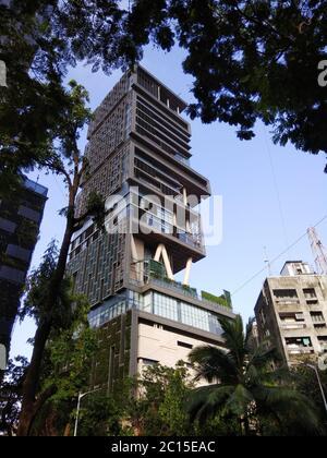 VIEW OF ANTILLA, RESIDENCE OF MUKESH AMBANI,  MUMBAI, MAHARASHTRA, INDIA - Stock Photo