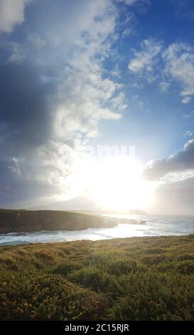 Sunset at the coast of Cantabria in Northern Spain - Stock Photo