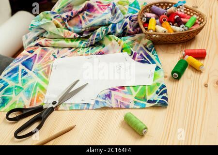 pattern on fabrics and sewing accessories