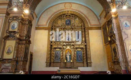 Quito, Pichincha / Ecuador - November 1 2019: Front view of the altar of the Church and Convent of the Immaculate Conception, located next to the pres - Stock Photo