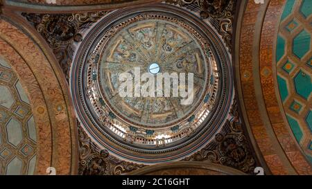 Quito, Pichincha / Ecuador - November 1 2019: View from below of the main dome of the church of El Sagrario in the historic center of Quito - Stock Photo