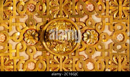 Quito, Pichincha / Ecuador - November 1 2019: Decorative architectural detail on the roof of the Church of the Society of Jesus, known colloquially as - Stock Photo