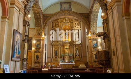 Quito, Pichincha / Ecuador - November 1 2019: Front view of the main altar of the Church and Convent of the Immaculate Conception, located next to the - Stock Photo