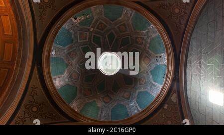 Quito, Pichincha / Ecuador - November 1 2019: View from below of the dome of the church of El Sagrario in the historic center of Quito - Stock Photo