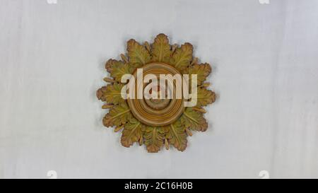 Quito, Pichincha / Ecuador - November 1 2019: Decorative architectural detail with face of an angel on roof of the Church of the Society of Jesus, kno - Stock Photo