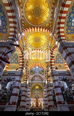 Notre-Dame de La Garde basilica interior (Upper Church) with a colorful Byzantine Revival style. Marseille, Bouches-du-Rhone, Provence, France