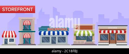 Flat illustration collection of shop building. The concept of buildings and architecture from a row of shopping places in the city. - Stock Photo