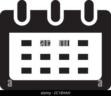 Calendar Icon In Flat Style Vector For Apps, UI, Websites. Black Icon Vector Illustration. - Stock Photo