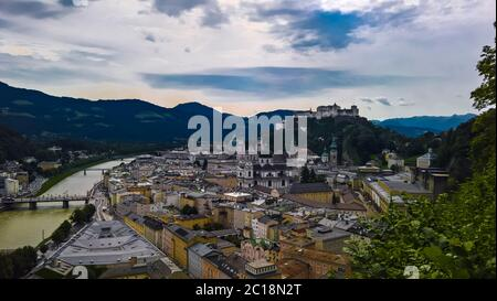 Aerial cityscape panorama view to Salzburg old city Austria - Stock Photo