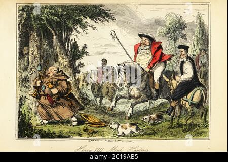 King Henry VIII in Victorian hunting outfit with a shepherd's crook on horseback chasing a Catholic monk fleeing with the church gold. Parody of the Dissolution of the Monasteries, circa 1540. Henry hunted in the Epping Forest. Henry VIII monk-hunting. Handcoloured steel engraving after an illustration by John Leech from Gilbert Abbott A'Beckett's Comic History of England, Bradbury, Agnew & Co., London, 1880. - Stock Photo