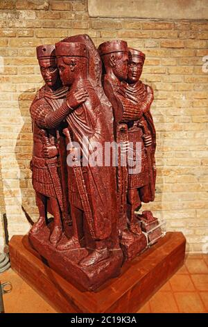The Portrait of the Four Tetrarchs installed in San Marco basilica museum.It is a porphyry sculpture group of four Roman emperors from around 3 300 AD - Stock Photo