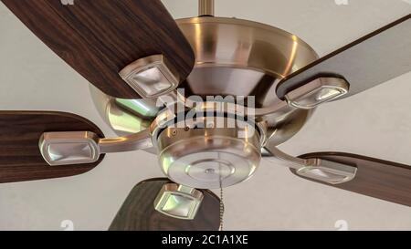 Panorama Standard ceiling fan with built in lights five blade design and metal downrod - Stock Photo
