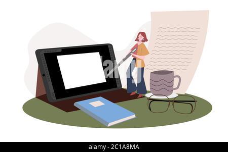 Woman sign digital document on tablet screen to establish business partnership modern flat design cartoon style - Stock Photo