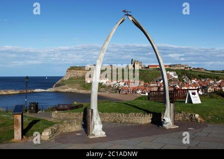 View through Whale Bones to town and Saint Mary`s Church and Whitby Abbey, Whitby, North Yorkshire, England, United Kingdom, Europe - Stock Photo