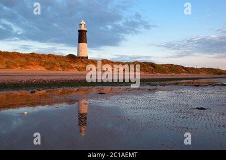 Sand dunes and the Old Spurn Point Lighthouse on Spurn Head, near Kingston upon Hull, East Riding of Yorkshire, England, United Kingdom, Europe - Stock Photo