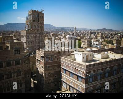 Aerial view of Sanaa old city, Yemen - Stock Photo