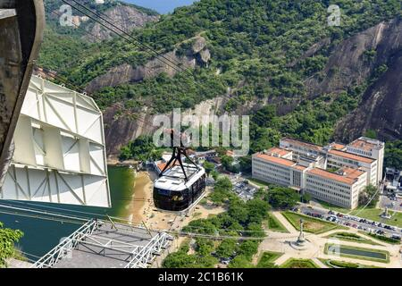 Arrival of the Sugar Loaf cable car to its first station - Stock Photo