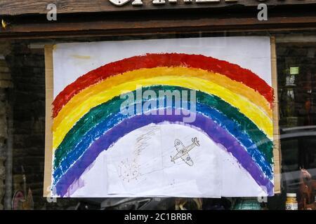 Rainbow message of thankyou in windows during coronavirus lockdown 2020 Derbyshire England