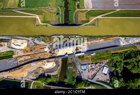 Aerial photograph, renewal of the canal overpass, Dortmund-Ems-Canal crossing of the Ems, river Ems, Greven, district of Steinfurt, Münsterland, North - Stock Photo