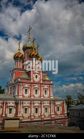 Exterior view to Church of the Nativity of the Blessed Virgin Mary, aka Nativity or Stroganov, Nizhny Novgorod, Russia Stock Photo