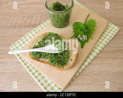 Homemade garlic mustard pesto on baguette