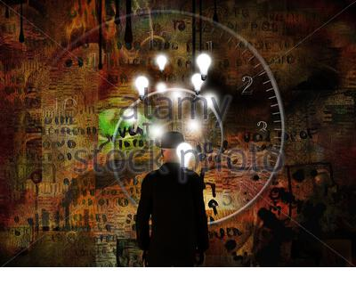 Surreal composition.Time and Ideas. Man in suit with light bulbs above head stands before spiral of time. - Stock Photo