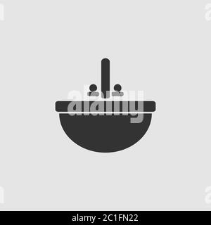 Washbasin icon flat. Black pictogram on grey background. Vector illustration symbol - Stock Photo