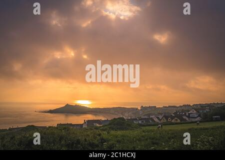 Porthgwidden Beach in St. Ives at dawn - Stock Photo