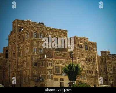 view to Sanaa old city in Yemen - Stock Photo