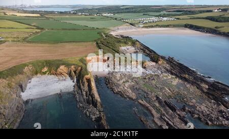 Aerial view of West Angle Beach, Angle, Pembrokeshire Wales UK