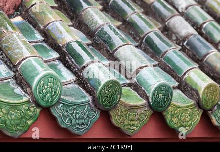 Close up of roof of Buddhist temple - Stock Photo