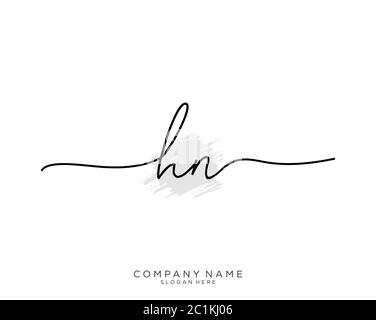 HN Initial handwriting logo with brush template vector - Stock Photo