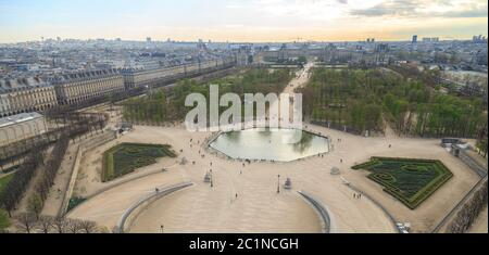 Paris, France, March 28 2017: Aerial view from the ferris wheel of the Tuileries Garden and the Louvre palace